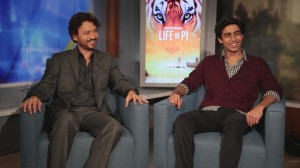 Irrfan Khan (L) and Suraj Sharma (R)  both play Pi Patel in Life of PI.